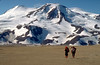 Trekking in the Valley of Ten Thousand Smokes at the base of Mt. Mageik. Katmai National Park.
