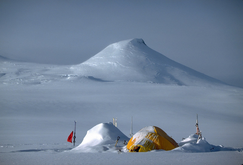 Base camp on Mt. Wrangell. Wrangell - St. Elias National Park.