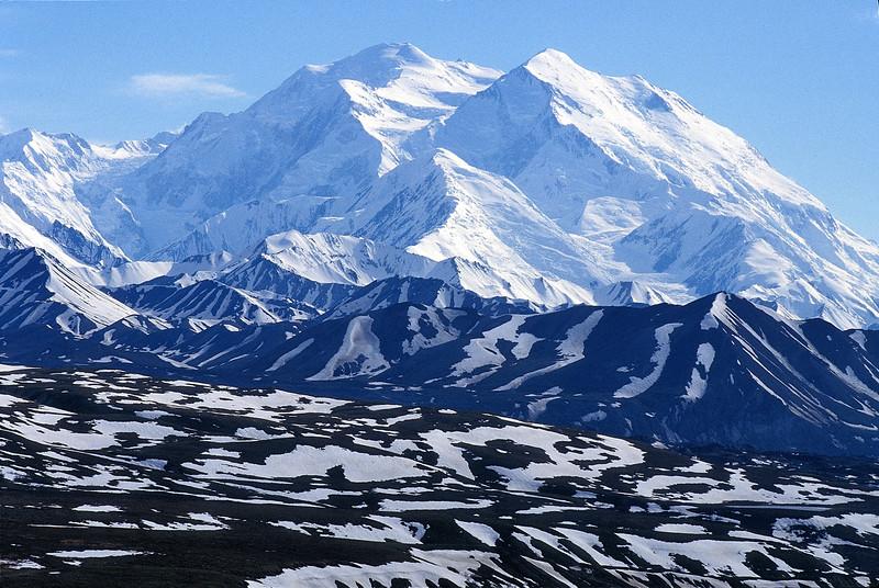 Mt McKinley over the Muldrow Glacier in June 1991.
