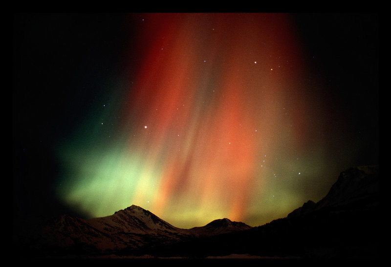 Aurora storm over the Chugach Mountains.