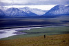 Hiking above the Canning River in the Arctic National Wildlife Refuge. Fresh August snow on the Shublik Mountains.