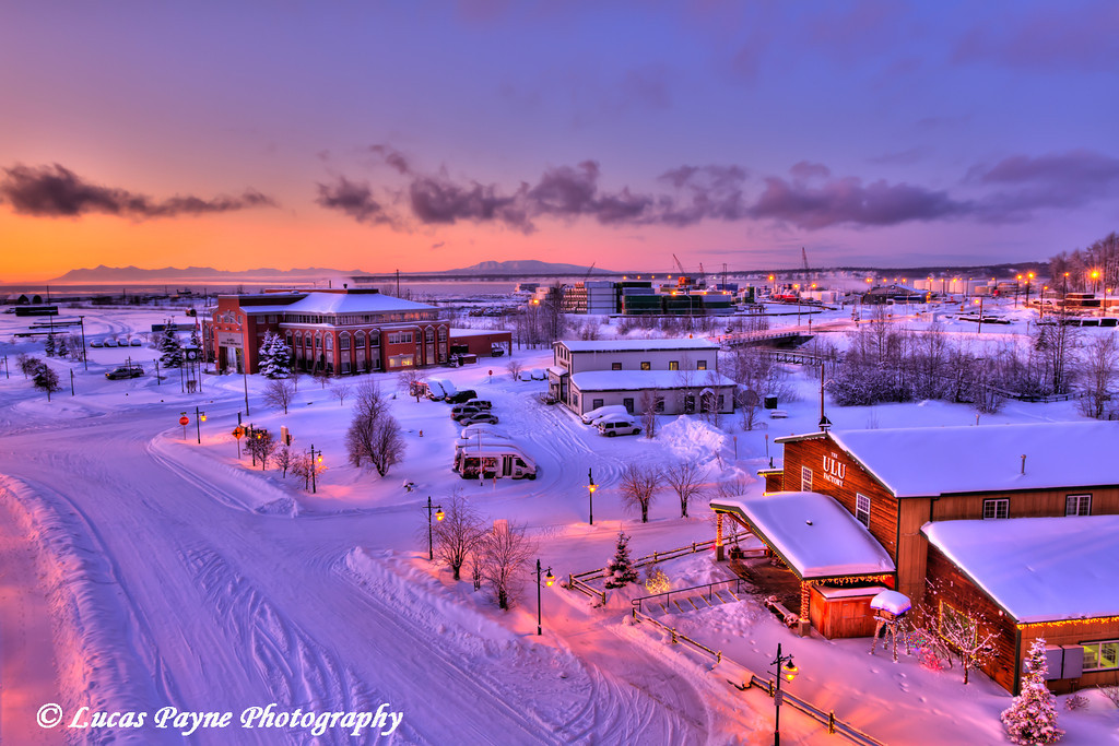 Sunset over Ship Creek and the Port of Anchorage<br /> HDR<br /> November 26, 2011