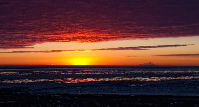Turnagain Arm Sunset with Iliamna Volcano