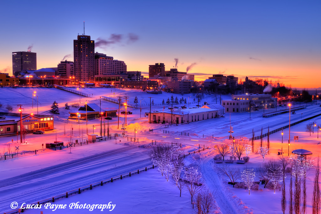 Sunset over Ship Creek and Downtown Anchorage<br /> HDR<br /> November 26, 2011