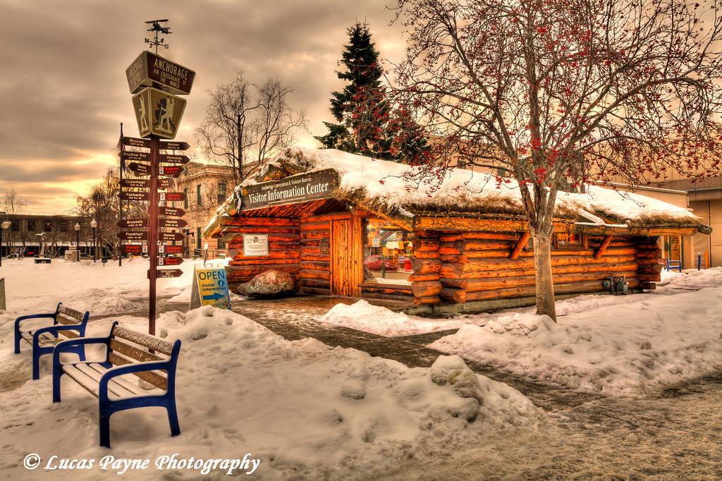 Log Cabin Visitor Center Anchorage, Alaska <br /> (HDR)<br /> January 29, 2011