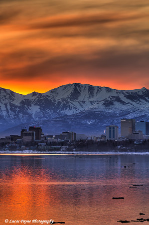 The Anchorage skyline and Chugach Mountains at sunrise from Earthquake Park<br /> HDR<br /> April 19, 2012