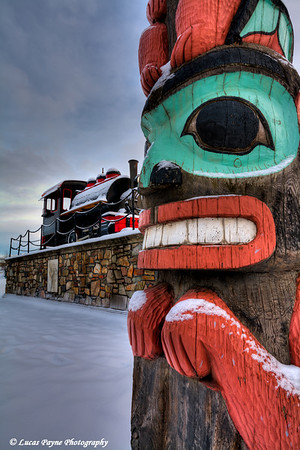 Totem Pole and Train at The Alaska Railroad Station Anchorage, Alaska <br /> (HDR)<br /> January 29, 2011