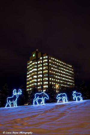 Moose lights and the BP building in Anchorage, Alaska.<br /> December 10, 2008