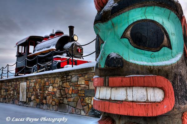 Totem Pole and Train at The Alaska Railroad Station Anchorage, Alaska<br /> (HDR)<br /> January 29, 2011