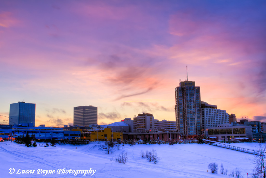 Colorful sunset over downtown Anchorage, Alaska<br /> HDR<br /> December 02, 2011