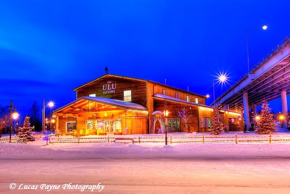 Christmas Lights and The Ulu Factory Anchorage, Alaska<br /> (HDR)<br /> January 29, 2011