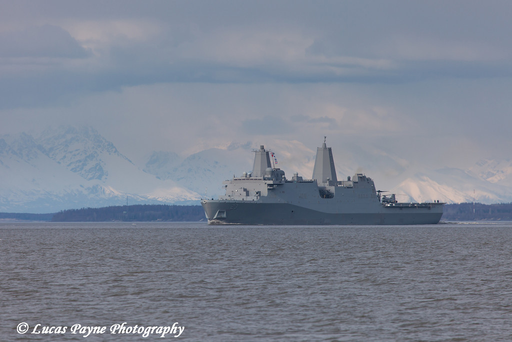 The USS Anchorage LPD 23 travelling down Cook Inlet after leaving the Port of Anchorage<br /> <br /> May 06, 2013