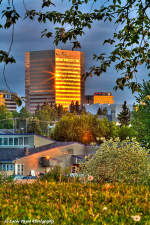 View of the Conoco Phillips Building at sunrise in Downtown Anchorage<br /> HDR<br /> June 08, 2011