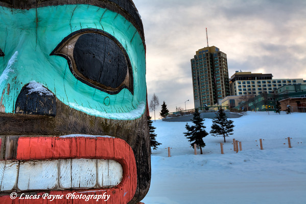 Totem Pole and the Hilton Hotel Anchorage, Alaska<br /> (HDR)<br /> January 29, 2011