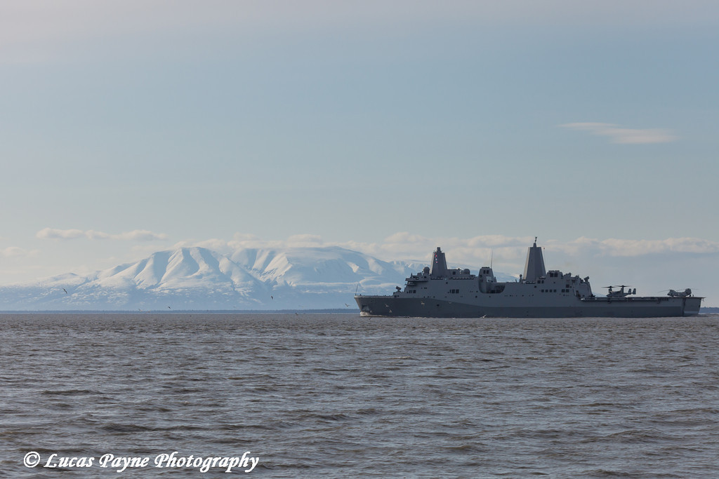 The USS Anchorage LPD 23 passes in front of the Sleeping Lady (Mt. Susitna) as it travels down Cook Inlet after leaving the Port of Anchorage<br /> <br /> May 06, 2013