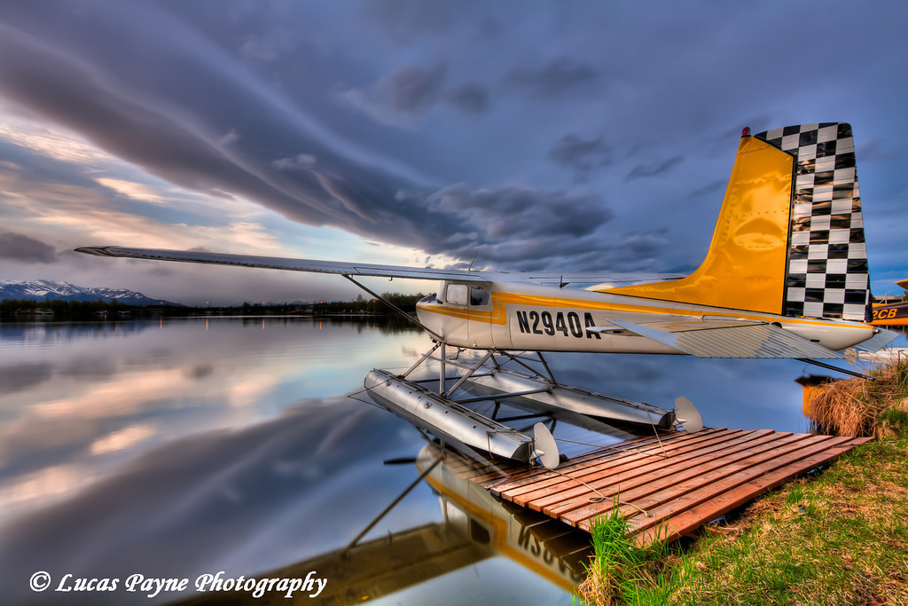Floatplane docked at Lake Hood in Anchorage<br /> May 19, 2011<br /> HDR