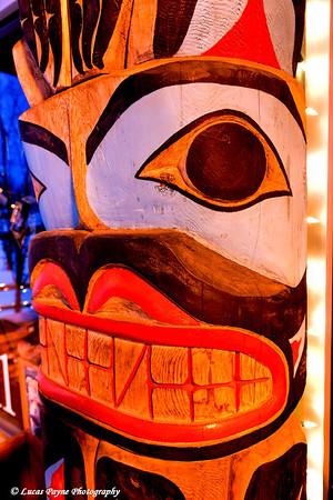 Christmas Lights and Totem Pole at The Ulu Factory Anchorage, Alaska <br /> (HDR)<br /> January 29, 2011