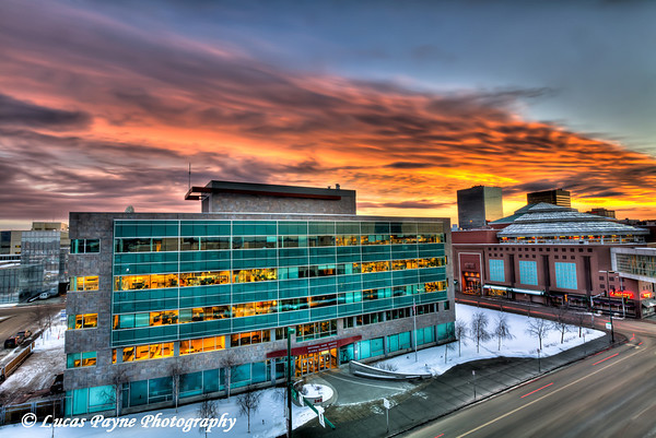 Anchorage 5th Ave Mall & National Park Service Alaska Regional Office Sunset <br /> (HDR) <br /> February 25, 2011