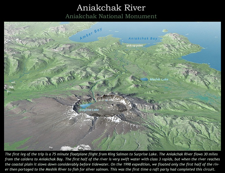 Aerial view of Aniakchak volcano and the Aniakchak River.