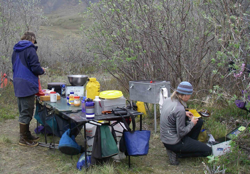 Here's what camp life was like. Our guides (here, Mike and Julie of TooLooUk River Guides) set up the kitchen and did an excellent job keeping us well-fed.