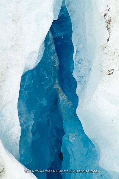 Blue glacial ice in Exit Glacier crevasse - Seward, Alaska