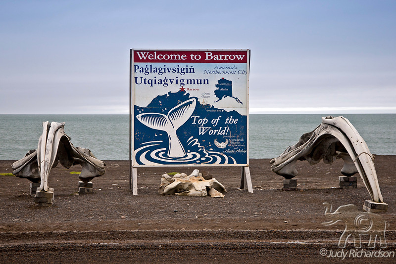 Whale bone and sign welcome in Barrow, Alaska