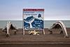 Whale bone and sign welcome in Barrow, Alaska