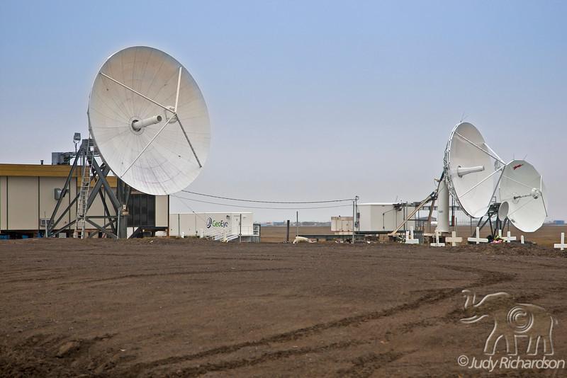 Satellite dishes outside Barrow, Alaska