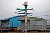 Directional sign post in Barrow, Alaska.