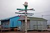 Directional sign post in Barrow, Alaska.