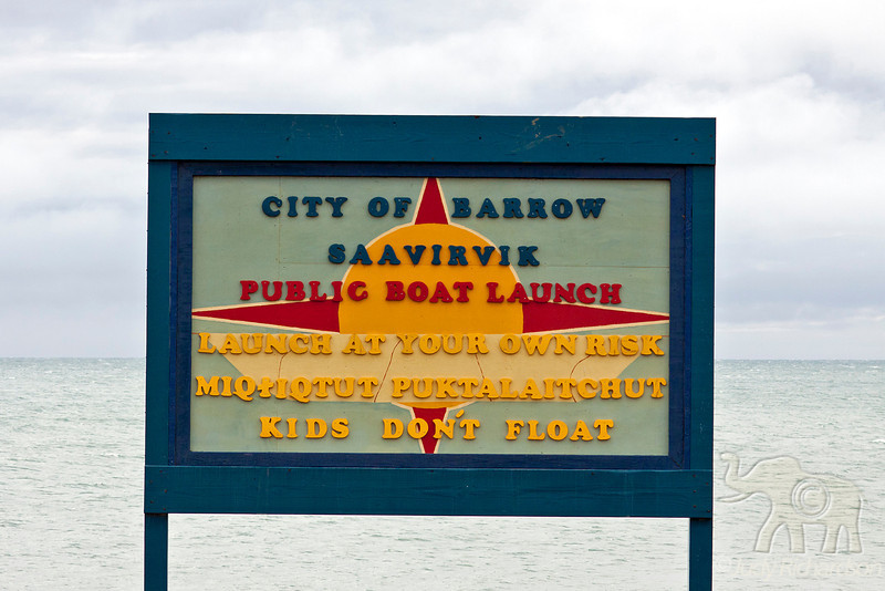 Sign showing boat launching in Barrow.