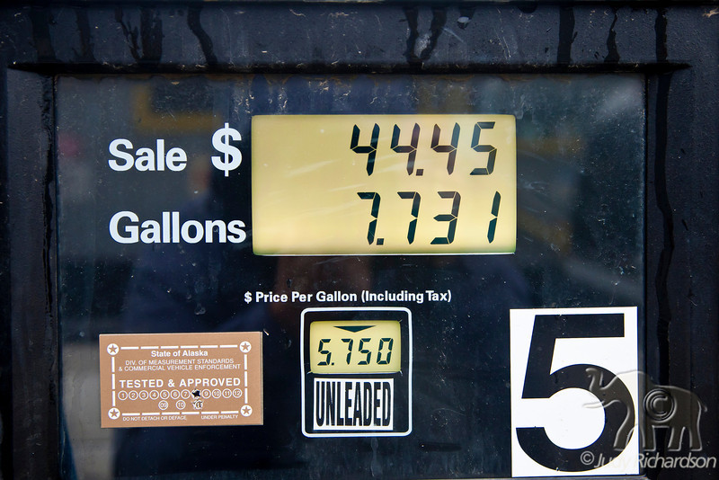 Cost of filling our rental truck used for 2 days in Barrow, Alaska~$5.75/gallon
