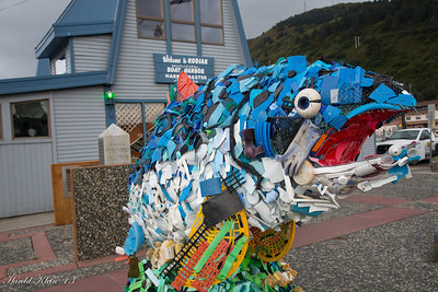 Garbage collected in fishing nets used to create this sculpture...