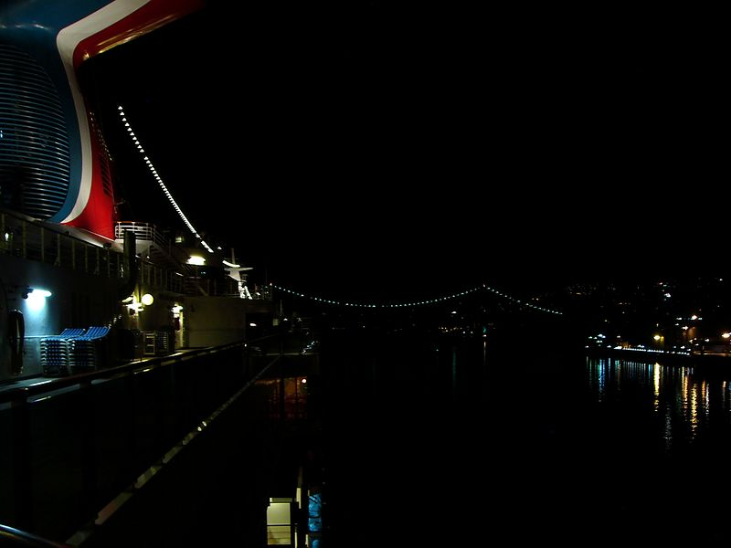 Departing Vancouver at midnight under the Lions Gate Bridge