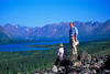 Hiking the ridge above camp. Looking across Twin Lake into Lake Clark National Park.