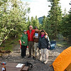 The author of our hiking in Denali guidebook, Ike Waits, happened to be staying at our campground.   He was very funny and we enjoyed meeting him.  Lisa, Ike, me(holding Ike's book), and Julie.