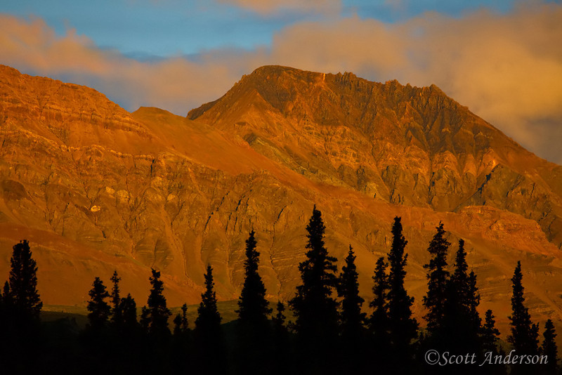 The sunset cast a warm glow on these mountains.  This was taken at 11:30 p.m.