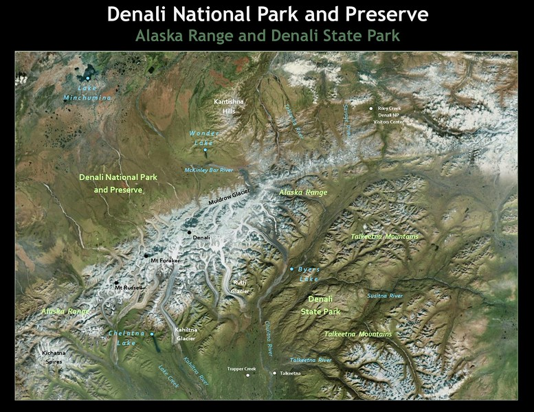 Denali Park has three distinct geographic regions. The high peaks and glaciers of the Alaska Range run laterally through the center of the park. The north side of the range has swift braided streams flowing north through alpine tundra hills and taiga lowlands. This is ideal habitat for the abundant wildlife found in Denali. On the south slope of the range, large south-flowing glacial rivers flow through broad valleys of  lush vegetation in mixed deciduous and coniferous forests.