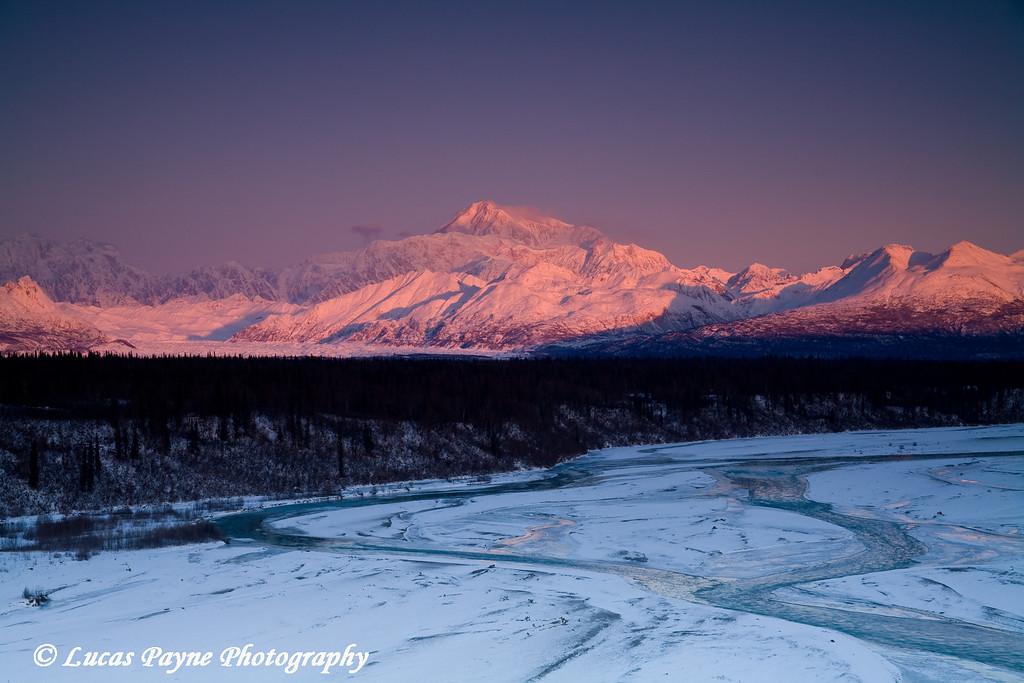 Alpenglow on Mt. McKinley in Alaska. <br /> November 5, 2008