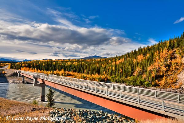 Footbridge over the Nenana River near the Denali National Park Entrance<br /> HDR<br /> September 05, 2011