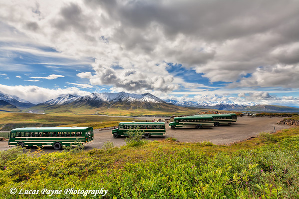 Mt. McKinley and shuttle buses parked at Eielson Visitor Center in Denali National Park<br /> HDR<br /> August 08, 2011