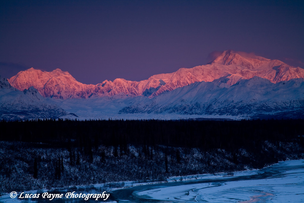 Alpenglow on Mt. McKinley and Mt. Foraker in Alaska. <br /> November 5, 2008