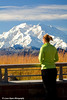 Melissa and Denali (Mt. McKinley) from Eielson Visitor Center in Denali National Park. <br /> September 06, 2010