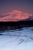 Alpenglow on Mt. McKinley in Alaska. <br /> November 5, 2008