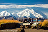 Denali (Mt. McKinley) and tourist at Eielson Visitor Center in Denali National Park. <br /> September 06, 2010
