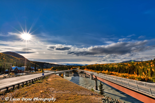 Parks Highway and footbridge over the Nenana River near the Denali National Park Entrance<br /> HDR<br /> September 05, 2011