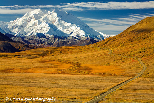Denali (Mt. McKinley) and Denali National Park road.<br /> September 06, 2010