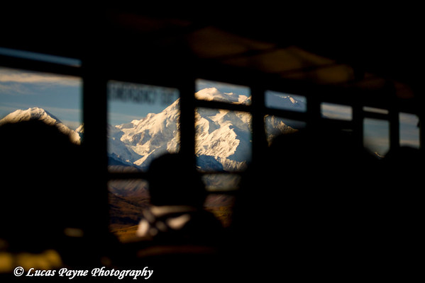 Denali (Mt. McKinley) from inside the Denali National Park bus.<br /> September 06, 2010