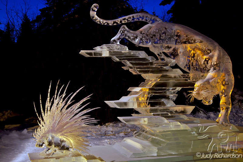 """The winner of the multi-block ice sculpturing contest. This is call """"Prickly Reception"""" and was created by a team of 4 artists from Japan."""