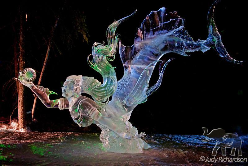 "Spectacular single block ice sculpture called ""Treasure Hunt Ble Marine"" won 1st place."